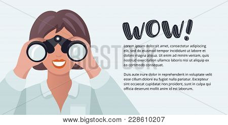 Vector Horizontal Banner With Cartoon Funny Illustration Of Woman Looking Through Binoculars