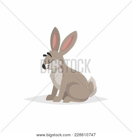 Cartoon Cheerful Sitting Hare. Forest Europe And North America Animal. Flat With Simple Gradients Tr