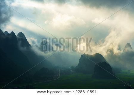 Vietnam Landscape With Mountain And Low Clouds In Early Morning In Trung Khanh, Cao Bang, Vietnam