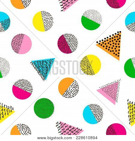 Colorful Geometric Seamless Pattern. Bright Background. 80's - 90's Years Design Style. Trendy.