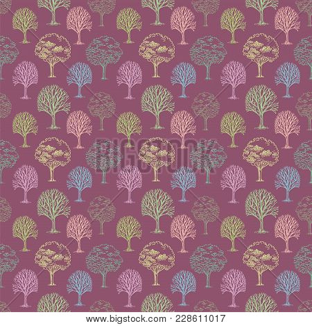 Vector Pattern With Trees And Bushes On Pink Background