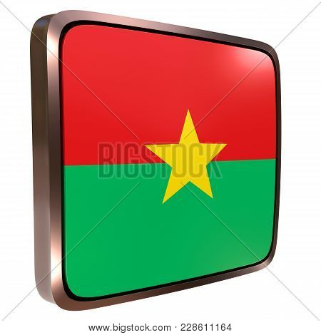 3d Rendering Of A Burkina Faso Flag Icon With A Metallic Frame. Isolated On White Background.