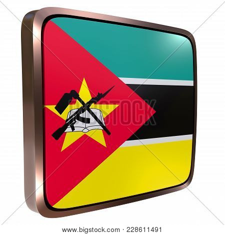 3d Rendering Of A Republic Of Mozambique Flag Icon With A Metallic Frame. Isolated On White Backgrou