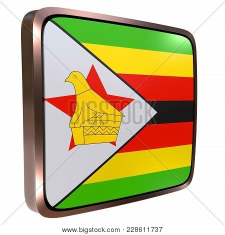 3d Rendering Of A Republic Of Zimbabwe Flag Icon With A Metallic Frame. Isolated On White Background