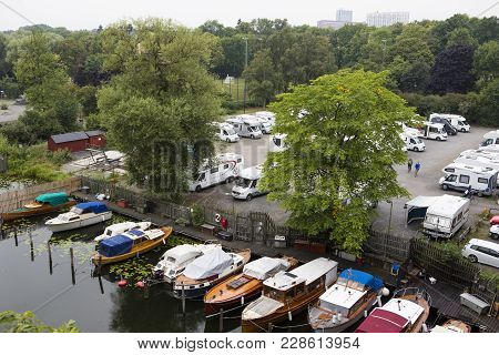 Stockholm/sweden - August 20 2016: The Campsite For Rv:s In Stockholm, Seen From Above At The Highwa