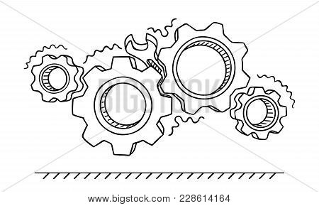 Non-working Gears. Broken Mechanism With A Wrench Vector Illustration Isolated On White. Jammed Mech