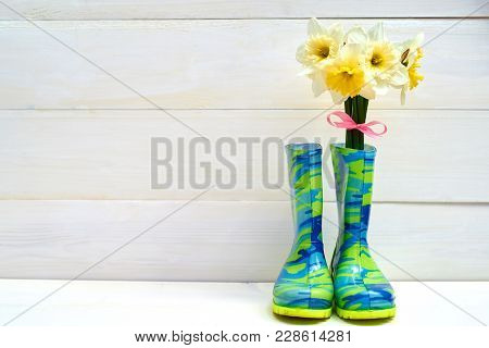 Fresh Yellow Daffodils In Rubber Boots On Wooden Background, Copy Space. Child Garden Wellington Boo