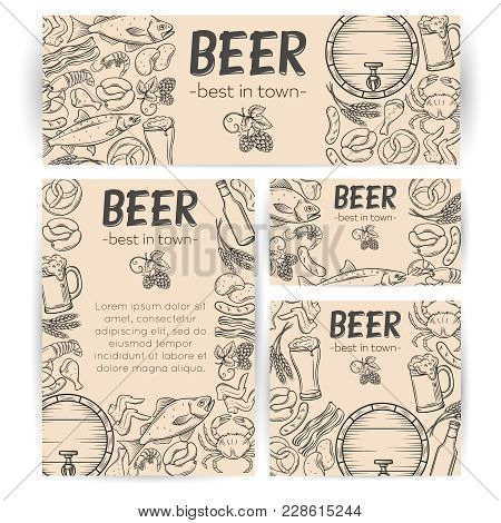 Corporate Style Template For For Craft Pub With Hand Drawn Snacks And Beer. Vector Alcohol And Pub F
