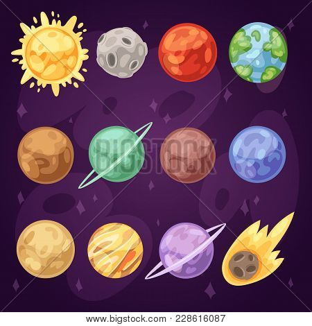 Planet Vector Planetary System In Space With Mercury Venus Earth Or Mars In Planetarium And Astronom