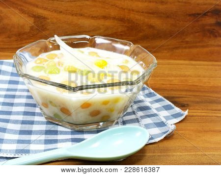 Thai Sweetmeat With Colorful Ball Flour Coconut Milk And Egg Popular And Famous Thailand