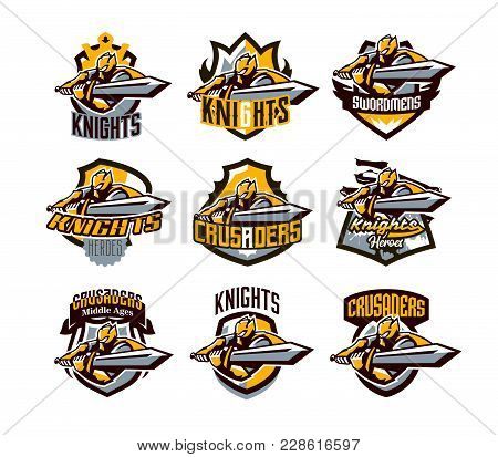 A Collection Of Colorful Logos, Stickers, Emblems, A Knight Is Attacking With A Sword. Gold Armor Of