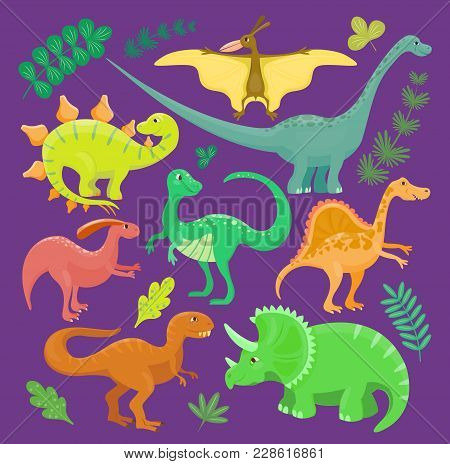 Dinosaur Vector Kid Hand Drawn Cartoon Style Collection Set Illustration. Dino Reptile Cute Monster
