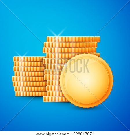 Gold Coins Cash. Excellent Vector Illustration, Eps 10