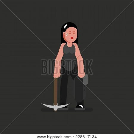 Miner Girl Hard Working With Jacket And Kirk. Vector Illustration, Eps 10