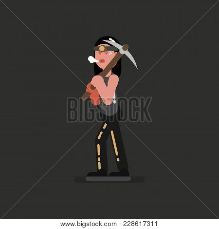 Miner Girl With Jacket And Kirk. Vector Illustration, Eps 10