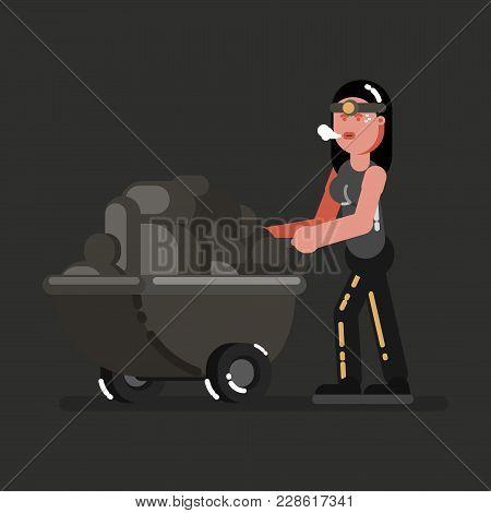 Miner Girl With Rocks. Vector Illustration, Eps 10