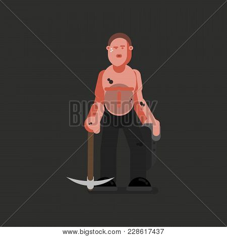 Miner Hard Working With Jacket And Kirk. Vector Illustration, Eps 10