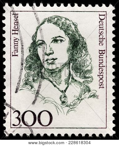 Luga, Russia - February 08, 2018: A Stamp Printed By Germany Shows Portrait Of Famous German Pianist