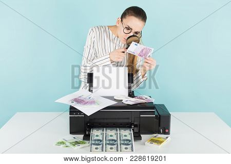 Portrait Of Attractive Woman In Striped Shirt And Eyeglasses Isolated On Blue Background Printing Do
