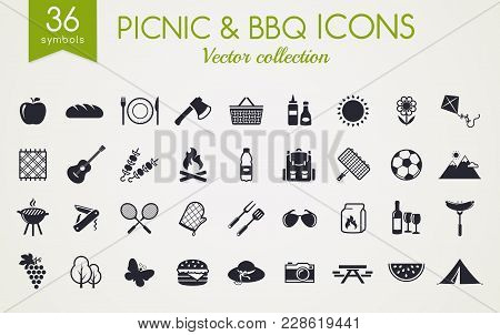 Picnic And Barbecue Web Icons. Set Of Black Symbols For A Summer Outdoor Recreation Theme. Vector Co