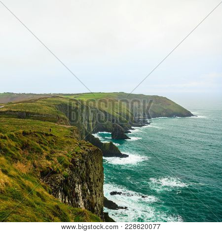 Irish Landscape. Coastline Atlantic Ocean Rocky Coast Scenery. County Cork, Ireland Europe