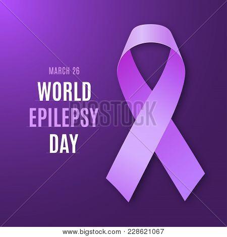 World Epilepsy Day. Purple Ribbon On Bright Dark Violet Background. Epilepsy Solidarity Symbol. Vect