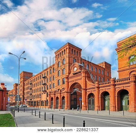 Genuine Industrial Architecture, With Unplastered Red Brick Buildings, Arch Gate, Arch Windows. The