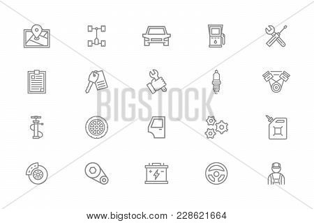 Set Of Vector Car Service And Auto Repair Line Icons. Route Map, Undercarriage, Automobile, Oil Stat