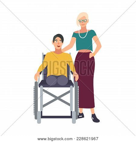 Man Without Legs Sitting In Wheelchair And His Girlfriend Or Wife Standing Beside. Happy Male Cartoo