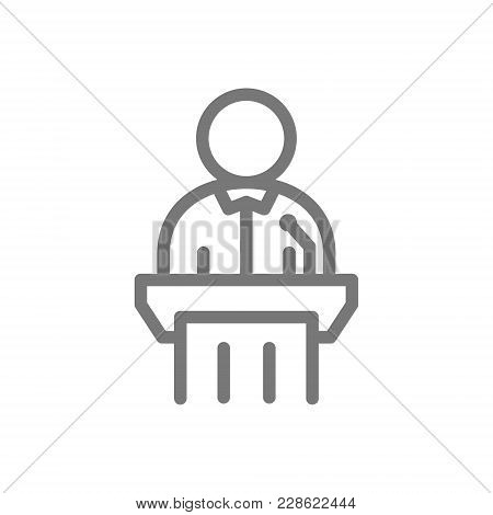 Simple Defendant, Witness Line Icon. Symbol And Sign Vector Illustration Design. Isolated On White B