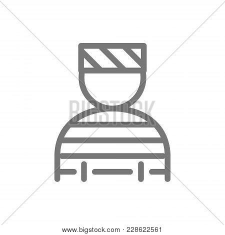 Simple Prisoner, Bandit, Thug, Gangster Line Icon. Symbol And Sign Vector Illustration Design. Isola