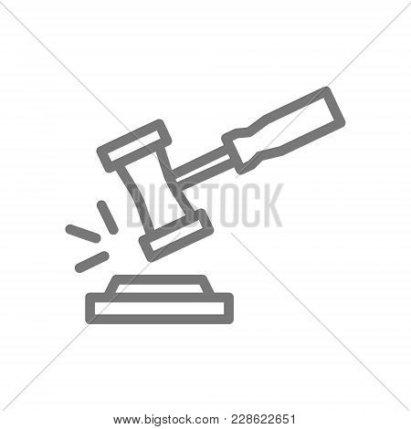 Simple Judge Or Auction Hammer Line Icon. Symbol And Sign Vector Illustration Design. Isolated On Wh