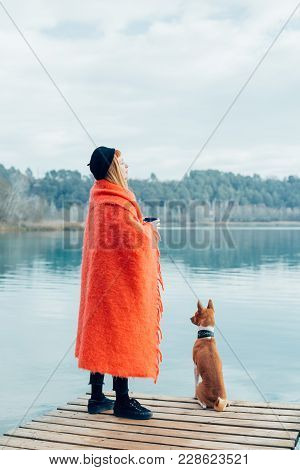 Cute And Adorable Couple, Young Woman Snuggled In Pink Plaid Woolen Blanket And Best Friend, Little