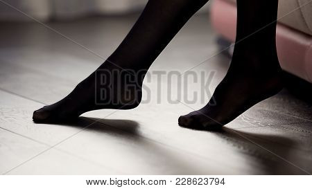 Elegant Female Legs In Black Tights On The Floor, Style And Fashion, Clothing, Stock Footage