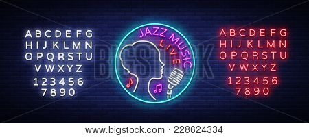 Jazz Music Is A Neon Style Logo. Neon Sign Symbol, Emblem, Light Banner, Luminous Sign. Bright Neon