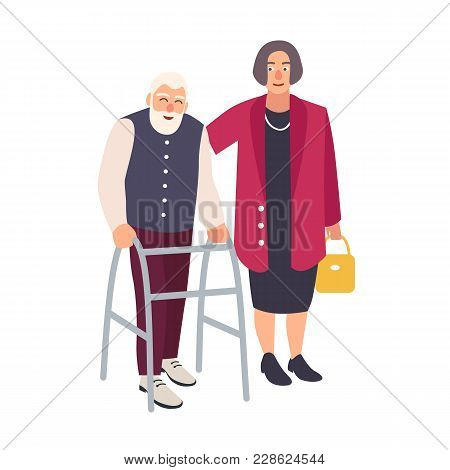 Old Bearded Man Walking With Walker And Woman Dressed In Elegant Clothing Supporting Him. Elderly Ma