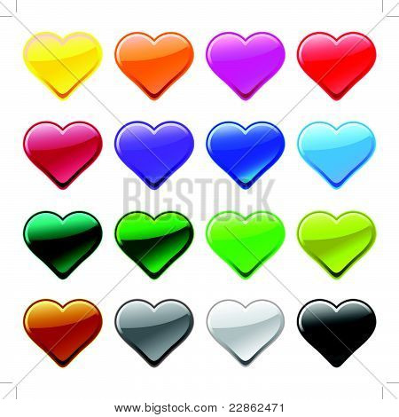 Vector love heart button icons