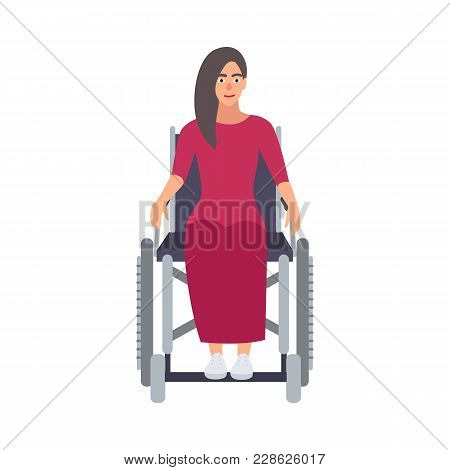 Young Long-haired Beautiful Woman Wearing Pink Dress Sitting In Wheelchair. Female Cartoon Character