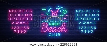 Beach Nightclub Neon Sign. Logo In Neon Style, Symbol, Design Template For Nightclub, Night Party Ad