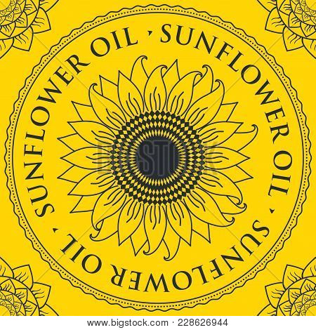Square Vector Banner For Sunflower Oil With Sunflower Inscribed In A Round Frame On A Yellow Backgro