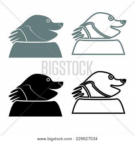 Mole Icon For Garden Craftset Grey Black Color Vector Illustration