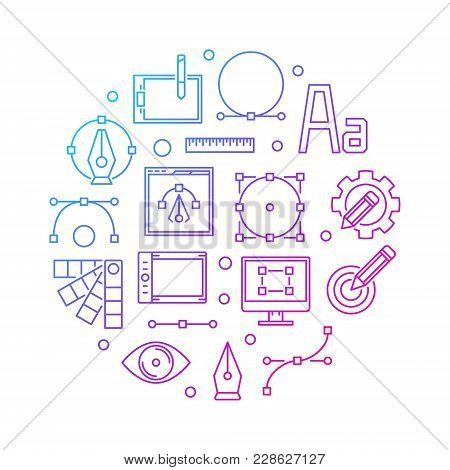 Graphic Design Colored Illustration. Vector Round Symbol Made With Pen Tool, Tablet And Curve Outlin