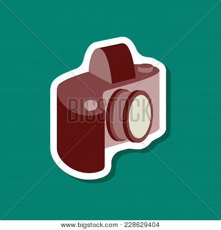 Paper Sticker On Stylish Background Camera Technology, Dj