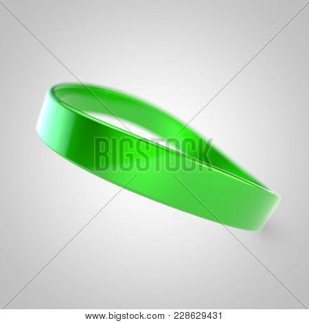 Green Silicone Promo Bracelet For Hand Isolated On White Background