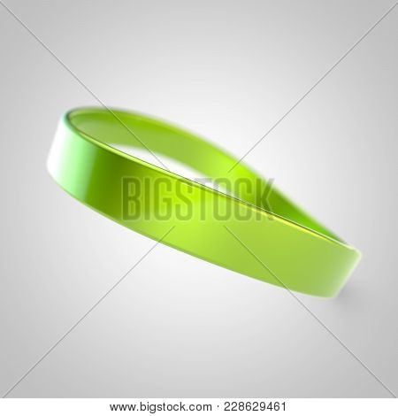Lime Silicone Promo Bracelet For Hand Isolated On White Background