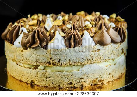 Double Layer Kiev Cake With Cream And Nuts
