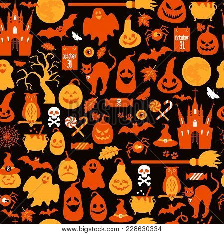 Seamless Pattern Of Halloween With Icons And Pumpkins.
