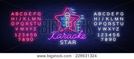 Karaoke Star Vector. Neon Sign, Luminous Logo, Symbol, Light Banner. Advertising Bright Night Karaok