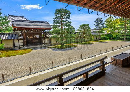 Kyoto, Japan - April 27, 2017: Japanese Rock Garden Or Karesansui Garden In Front Of Hojo Hall Build