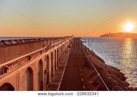 Sunset At Port Of Tarragona, Costa Dorada,spain.